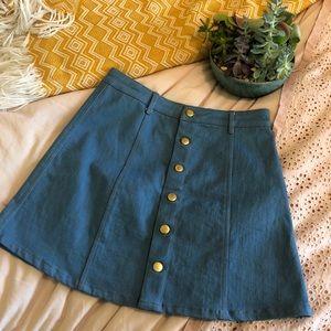trendy Olivaceous denim button up A-line skirt